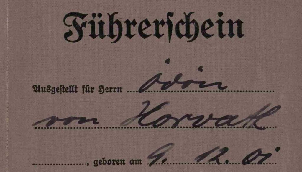 Ödön von Horváth: Führerschein 1934 (Ausschnitt, © Ödön-von-Horvath-Gesellschaft Murnau)