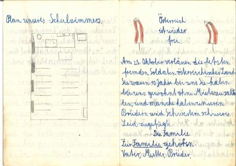 """""""Heimatkundeheft für Gruber Reinhad [!] 3.a"""", undat. [1955/56], Bl. 4"""