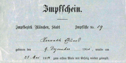Ödön von Horváth: Impfschein 1914 (Ausschnitt, © Ödön-von-Horvath-Gesellschaft Murnau)